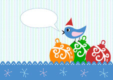 Xmas greeting card  bird Royalty Free Stock Photo