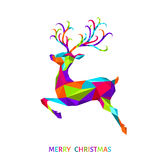Xmas greeting card with colorful  deer  on white  background. Christmas and New Year low poly triangle reindeer. Xmas greeting card with colorful  deer  on Stock Image