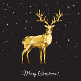 Xmas greeting card with gold  deer  on black background. Christmas polygon reindeer. Xmas greeting card with gold  deer  on black background. Vector Royalty Free Stock Photos