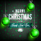 Xmas greeting card green2-04-01. Merry Christmas and Happy New Year message on dark background. Christmas related ornaments objects on color background. Greeting Stock Image