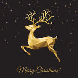 Xmas greeting card with  low poly triangle gold  deer  on black Royalty Free Stock Photography