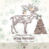 Xmas greeting card with north deer bells Christmas tree and snow Royalty Free Stock Image
