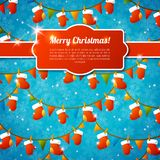 Xmas greeting card with red frame, ribbon and Royalty Free Stock Images
