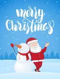 Xmas greeting card with Santa Claus and snowman on snowy landscape. Handwritten brush lettering of Merry Christmas. Vector illustration: Xmas greeting card with Stock Images