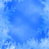 Xmas greeting card. Snow flakes on a soft blue background Stock Illustration