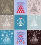 Xmas greeting decorative cards Stock Photos