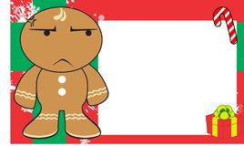 Xmas grumpy gingerbread kid cartoon expression frame background4 Stock Photo