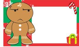 Xmas grumpy gingerbread kid cartoon expression frame background4 Stock Photo
