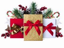 Xmas grunge decoration background with sparkly presents royalty free stock photography