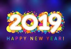 2019 xmas-hälsningar för lyckligt nytt år stock illustrationer
