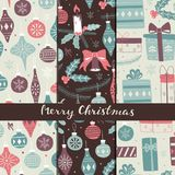 Christmas Different Seamless Patterns. Xmas Hand Drawn Elements. Seamless Pattern Set. Collection of Hand Drawn Christmas Doodles Pattern Royalty Free Stock Images