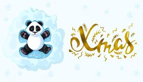 Xmas Handwritten elegant modern brushes inscription gold Panda is lying in the snow playing snow angels.  Vector illustration. Xmas Handwritten elegant modern Royalty Free Stock Image