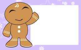 Xmas happy gingerbread kid cartoon expression frame background4 Royalty Free Stock Images