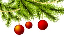 Christmas tree ball golden garland. Xmas happy holiday Christmas ball mockup. Vector golden garland light shine background illustration. New year winter Stock Images