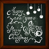 Xmas. Happy New Year and Merry Christmas lettering. Chalkboard background. Mel. The image can be used as a greeting card, background, invitations, flyers vector illustration