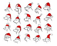 Xmas happy new year 2018 outlined silhouettes of different dogs heads profiles stock illustration