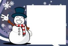 Xmas happy snow man cartoon emotion picture frame background. Xmas funny snow man cartoon expression picture frame background in vector format Royalty Free Stock Image