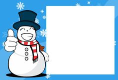 Xmas happy snow man cartoon expression picture frame background. Xmas funny snow man cartoon expression picture frame background in vector format Stock Photography