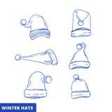 Xmas hat sketch set line art. Xmas hat sketch set illustration doodle royalty free illustration