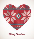 Xmas heart ornaments - seamless knitted background Stock Images