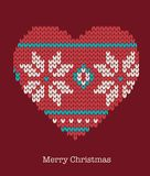 Xmas heart ornaments - seamless knitted background Stock Photo