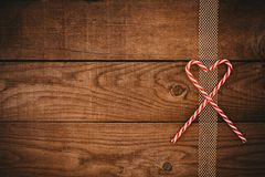 Xmas and heart shape from candy cane Royalty Free Stock Images