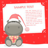 Xmas Hippo stock illustration