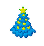 Xmas holiday childish cute Christmas tree. Kid style little decorated trees on snow white background. Ornamented festive tree in simple funny style Royalty Free Stock Photography