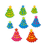 Xmas holiday childish cute Christmas tree. Kid style little decorated trees on snow white background. Stock Images