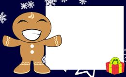 Xmas hug gingerbread kid cartoon expression frame background5 Royalty Free Stock Photography