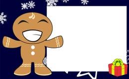 Xmas hug gingerbread kid cartoon expression frame background5 Royalty Free Stock Photography
