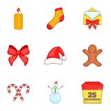 Xmas icons set, cartoon style Royalty Free Stock Photography