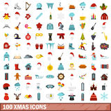 100 xmas icons set, flat style. 100 xmas icons set in flat style for any design vector illustration Stock Images
