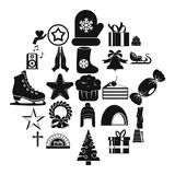 Xmas icons set, simple style. Xmas icons set. Simple set of 25 xmas vector icons for web isolated on white background Royalty Free Stock Images