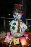 Xmas illuminated neon snowman Stock Photos