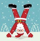 Xmas illustration of santa claus. Standing upside down, vector vector illustration