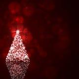 Xmas Jaskrawy drzewo na zmroku - czerwony tło royalty ilustracja