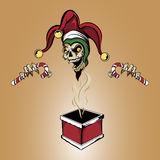 Xmas Joker Zombie Skull. Illustration of a zombie joker vampire skull popping out of a warm christmas chimney box holding two candy canes wearing a santa hat Royalty Free Stock Photography