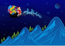 Xmas Journey. Santa Traveling in snowflake with gifts stock illustration