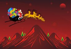 Xmas Journey. Santa traveling in red mountain stock illustration