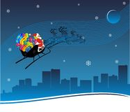 Xmas Journey. Santa Traveling in Metro City vector illustration