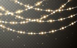 Xmas koloru girlanda, świąteczne dekoracje Rozjarzonych bożonarodzeniowych świateł skutka przejrzysta dekoracja na ciemnym tle we royalty ilustracja