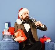 Xmas korporacyjny partyjny pojęcie Santa w retro kostiumu obraz stock