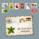 Xmas letter. Vector illustration of a postage stamp and a letter for Santa Claus vector illustration