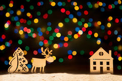 Xmas lights as stars, Christmas tree, vintage decoration, deer a Royalty Free Stock Photography