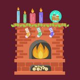 Xmas Lights Decoration. Christmas Fireplace with Family Hanging Three Socks. Xmas Lights Decoration in flat design. Vector illustration eps 10 Royalty Free Stock Photos