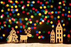 Xmas lights stars, Christmas tree, vintage decoration, deer and Royalty Free Stock Images