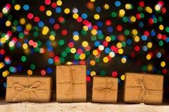 Xmas lights stars, Christmas tree, vintage decoration, gift boxe Stock Images