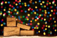 Xmas lights stars, Christmas tree, vintage decoration, gift boxe Royalty Free Stock Photos