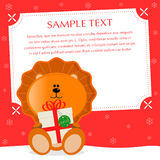 Xmas Lion. Amorous christmas greeting card. Sample text, place your text  — personalize your message Stock Image
